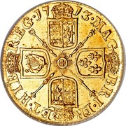 UK Guinea Anne 1713 KM# 534 MAG BRI ∙ FR ET ∙ HIB REG ∙ coin reverse