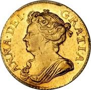 UK Guinea Anne Elephant and castle below 1709 KM# 529.2 ANNA ∙ DEI ∙ GRATIA ∙ coin obverse