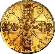 UK Guinea Anne Elephant and castle below 1709 KM# 529.2 MAG BRI ∙ FR ET ∙ HIB REG ∙ coin reverse
