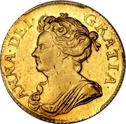 UK Guinea Anne No elephant and castle below 1709 KM# 529.1 ANNA∙DEI∙ GRATIA∙ coin obverse