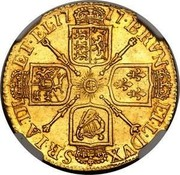 UK Guinea George I tie in hair with loop 1717 KM# 546.1 BRVN ET ∙ L ∙ DVX S ∙ R ∙ I ∙ A ∙ TH ET ∙ EL ∙ coin reverse