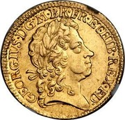 UK Guinea (George I tie in hair with loop) KM# 546.2 GEORGIVS∙D:G∙M∙BR∙FR:E:T:HIB∙REX∙F∙D coin obverse