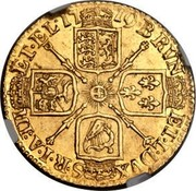 UK Guinea (George I tie in hair with loop) KM# 546.2 BRVN ET∙L∙DVX S∙R∙I∙A∙TH ET∙EL ∙*YEAR*∙ coin reverse