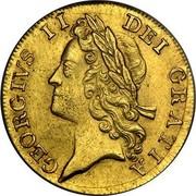 UK Guinea George II (2nd portrait) Large letters 1734 KM# 573.3 GEORGIVS ∙ II ∙ DEI ∙ GRATIA ∙ coin obverse