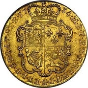 UK Guinea George II (2nd portrait) Large letters 1734 KM# 573.3 F ∙ D ∙ B ∙ ET ∙ L ∙ D ∙ S ∙ R ∙ I ∙ A ∙ T ∙ ET ∙ E ∙ M ∙ B ∙ F ∙ ET ∙ H ∙ REX ∙ coin reverse