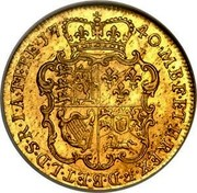 UK Guinea George II (Guinea) 1740 KM# 577.1 F ∙ D ∙ B ∙ ET ∙ L ∙ D ∙ S ∙ R ∙ I ∙ A ∙ T ∙ ET ∙ E ∙ M ∙ B ∙ F ∙ ET ∙ H ∙ REX ∙ coin reverse