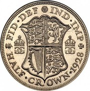 UK Half Crown George V 1928 KM# 835 FID∙DEF IND∙IMP K G HALF∙ CROWN∙ *YEAR* coin reverse