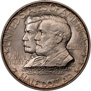 USA Half Dollar Battle of Antietam 75th Anniversary 1937 KM# 190 * UNITED STATES OF AMERICA IN GOD WE TRUST LIBERTY * HALF DOLLAR *** GEN GEORGE B McCLELLAN CEN RONERT E LEE coin obverse