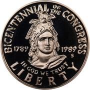 USA Half Dollar Congress Bicentennial 1989 S KM# 224 LIBERTY IN GOD WE TRUST BICENTENNIAL OF THE CONGRESS 1789 1989 coin obverse