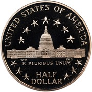 USA Half Dollar Congress Bicentennial 1989 S KM# 224 UNITED STATES OF AMERICA HALF DOLLAR E PLURIBUS UNUM coin reverse
