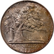 USA Half Dollar Connecticut Tercentenary 1935 KM# 169 IN GOD WE TRUST LIBERTY THE CHARTER OAK CONNECTICUT 1635-1935 coin reverse