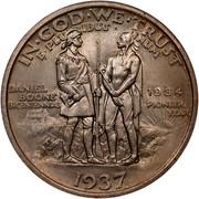 USA Half Dollar Daniel Boone Bicentennial 1937 KM# 165.2 IN ∙ GOD ∙ WE ∙ TRUST E ∙ PLURIBUS ∙ UNUM DANIEL BOONE BICENTENNIAL PIONEER YEAR coin reverse