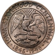 USA Half Dollar Iowa Statehood Centennial 1946 KM# 197 IOWA STATEHOOD CENTENNIAL * 1846 * 1946 * OUR LIBERTIES WE PRIZE AND OUR RIGHTS WE WILL MAINTAIN E PLURIBUS UNUM coin obverse