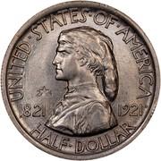 USA Half Dollar Missouri Centennial 1921 KM# 149.2 UNITED • STATES • OF • AMERICA 1821 1921 HALF • DOLLAR coin obverse