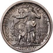USA Half Dollar Missouri Centennial 1921 KM# 149.2 MISSOURI • CENTENNIAL • SEDALIA • coin reverse