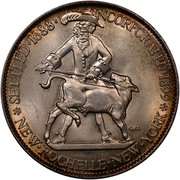 USA Half Dollar New Rochelle - N.Y. 1938 KM# 191 SETTLED ∙ 1688 ∙ INCORPORATED ∙ 1899 NEW ∙ ROCHELLE ∙ NEW ∙ YORK coin obverse