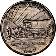 USA Half Dollar Oregon Trail Memorial 1937 D KM# 159 IN GOD WE TRUST OREGON TRAIL MEMORIAL coin reverse