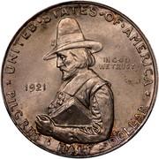 USA Half Dollar Pilgrim Tercentenary 1921 KM# 147.2 * UNITED • STATES • OF • AMERICA * IN GOD WE TRUST PILGRIM • HALF • DOLLAR coin obverse