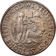USA Half Dollar Rhode Island Tercentenary 1936 S KM# 185 : IN • GOD • WE • TRUST : 1636 • RHODE • ISLAND • 1936 coin obverse
