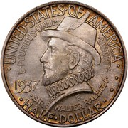 USA Half Dollar Roanoke Island, N.C. 1937 KM# 186 • UNITED • STATES • OF • AMERICA • E • PLURIBUS • UNUM • LIBERTY • HALF • DOLLAR • SIR • WALTER RALEIGH • coin obverse