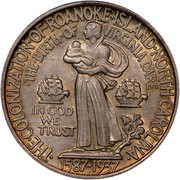 USA Half Dollar Roanoke Island, N.C. 1937 KM# 186 • THE • COLONIZATION • OF • ROANOKE • ISLAND • NORTH • CAROLINA • 1587-1937 IN GOD WE TRUST • THE • BIRTH • OF • VIRGINIA DARE coin reverse