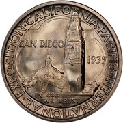 USA Half Dollar San Diego-Pacific International Exposition 1935 S KM# 171 • INTERNATIONAL • EXPOSITION • CALIFORNIA • PACIFIC • SAN DIEGO 1935 IN GOD WE TRUST coin reverse