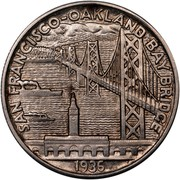 USA Half Dollar San Francisco-Oakland Bay Bridge 1936 KM# 174 SAN FRANCISCO-OAKLAND AND BAY BRIDGE coin reverse