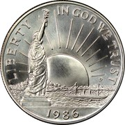 USA Half Dollar Statue of Liberty Centennial 1986 D KM# 212 LIBERTY IN GOD WE TRUST coin obverse