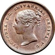UK Half Farthing Victoria (1st portrait) 1844 KM# 738 VICTORIA D: G: BRITANNIAR: REGINA F: D: coin obverse