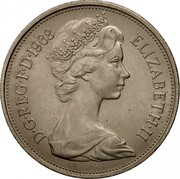 UK New 10 Pence Elizabeth II 1968 KM# 912 D∙G∙REG∙F∙D∙1980 ELIZABETH∙II coin obverse