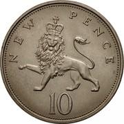 UK New 10 Pence Elizabeth II 1968 KM# 912 NEW PENCE 10 coin reverse
