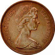 UK New Pence Elizabeth II 1977 Proof KM# 916 D∙G∙REG∙F∙D∙1980 ELIZABETH∙II coin obverse