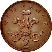 UK New Pence Elizabeth II 1977 Proof KM# 916 NEW PENCE ICH DIEN 2 coin reverse