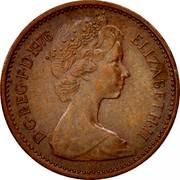 UK New Penny 1/2 Elizabeth II 1976 KM# 914 D∙G∙REG∙F∙D∙1975 ELIZABETH∙II coin obverse