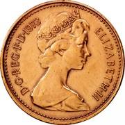 UK New Penny Elizabeth II 1973 KM# 915 D∙G∙REG∙F∙D∙1980 ELIZABETH∙II coin obverse