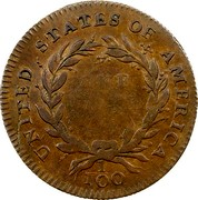 USA One Cent 1792 KM# PnF1 Issues of 1792 UNITED STATES OF AMERICA ONE CENT 1/100 coin reverse