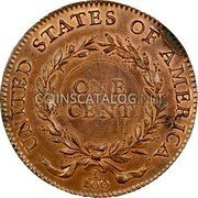 USA One Cent 1792 KM# PnI1 Issues of 1792 UNITED STATES OF AMERICA. ONE CENT 1/100 coin reverse