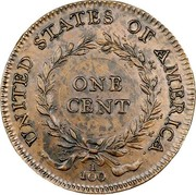 USA One Cent 1792 KM# PnG1 Issues of 1792 UNITED STATES OF AMERICA. ONE CENT 1/100 coin reverse