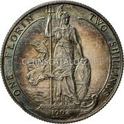 UK One Florin Two Shillings 1902 KM# 801 ONE FLORIN TWO SHILLINGS *YEAR* coin reverse