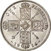 UK One Florin Two Shillings 1914 KM# 817 ONE FLORIN *YEAR* coin reverse