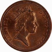 UK One Penny Elizabeth II 1986 KM# 935 ELIZABETH II D∙G∙REG∙F∙D∙1989 RDM coin obverse