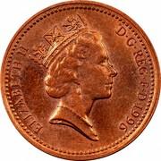UK One Penny Elizabeth II 1996 KM# 935a ELIZABETH II D∙G∙REG∙F∙D∙1996 RDM coin obverse