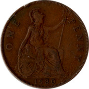 UK One Penny George V 1930 KM# 838 ONE PENNY *YEAR* coin reverse
