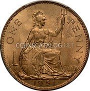 UK One Penny George VI 1951 Proof KM# 869 ONE PENNY *YEAR* coin reverse