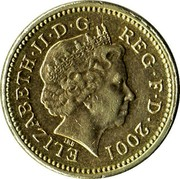 UK One Pound Celtic Cross of Northern Ireland 2001 British Royal Mint KM# 1013 ELIZABETH∙II∙D∙G REG∙F∙D∙2001 IRB coin obverse
