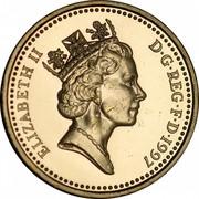 UK One Pound English Lions 1997 Proof KM# 975 ELIZABETH II D∙G∙REG∙F∙D∙1997 RDM coin obverse