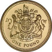 UK One Pound Royal Arms 1993 KM# 964 HONI SOIT QUI MAL Y PENSE DIEU ET MON DROIT ONE POUND coin reverse