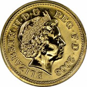 UK One Pound Royal Arms 2008 KM# 993 ELIZABETH∙II∙D∙G REG∙F∙D∙1998 IRB coin obverse