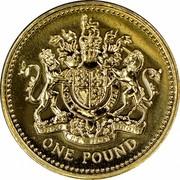UK One Pound Royal Arms 2008 KM# 993 HONI SOIT QUI MAL Y PENSE DIEU ET MON DROIT ONE POUND coin reverse