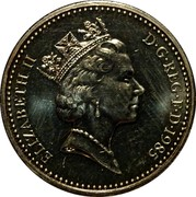 UK One Pound Welsh Leek 1985 KM# 941 ELIZABETH II D∙G∙REG∙F∙D∙1985 RDM coin obverse